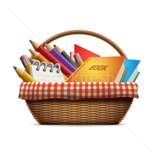 School supplies in wicker basket Stock photo © sgursozlu