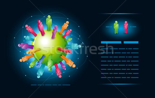 Globális közösség vektor illusztráció sablon elemek Stock fotó © sgursozlu