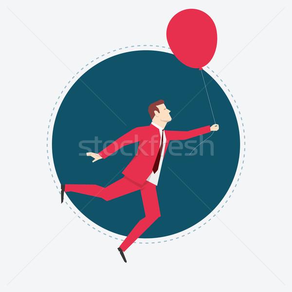 Stok fotoğraf: Işadamı · balon · kırmızı · takım · elbise · iş · soyut