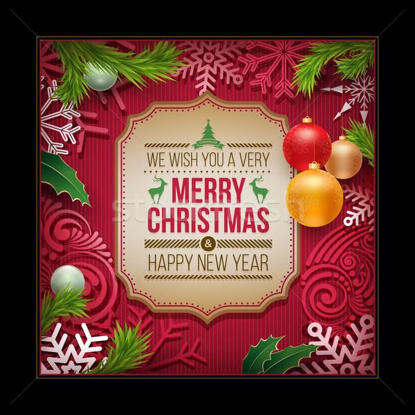 Natale biglietto d'auguri design vettore capodanno Foto d'archivio © sgursozlu