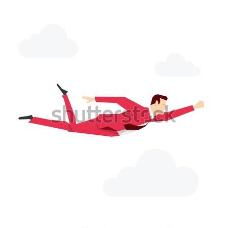 Stok fotoğraf: Kırmızı · takım · elbise · işadamı · uçan · gökyüzü · iş