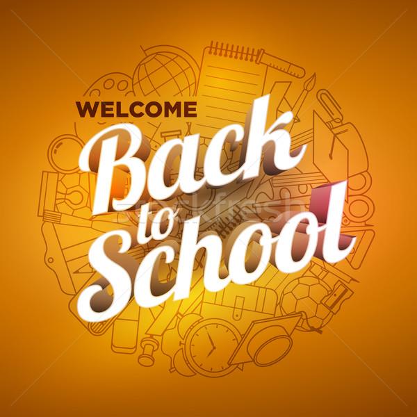Vissza az iskolába terv tanszerek ikonok részletes kéz Stock fotó © sgursozlu