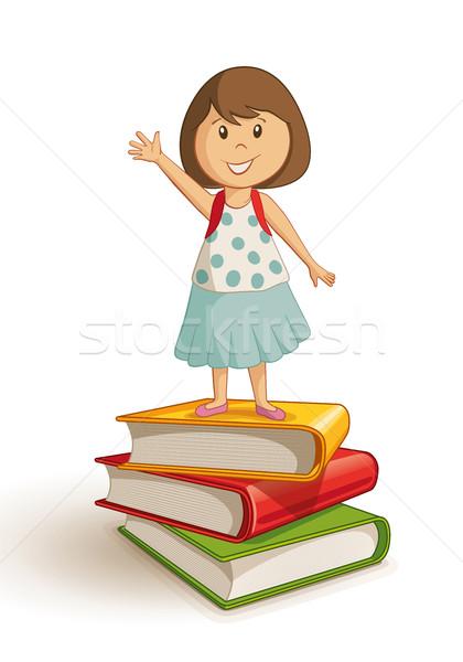 Iskolás lány áll könyv boglya integet kéz Stock fotó © sgursozlu