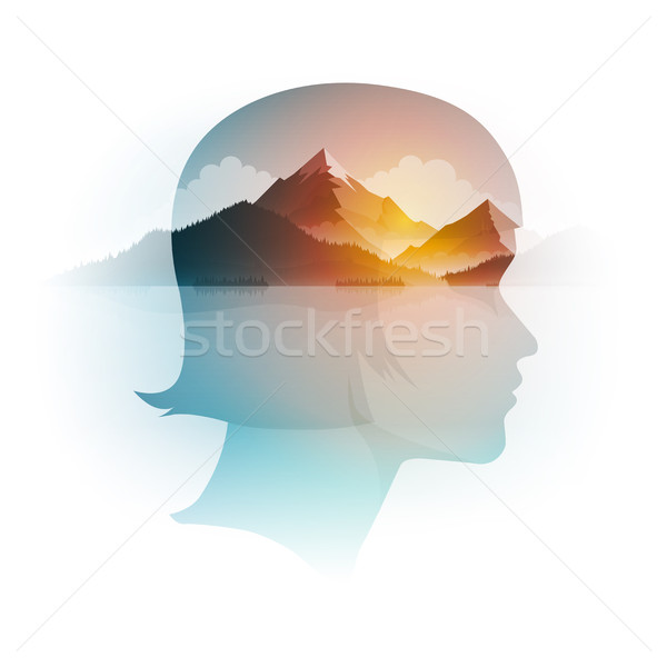 Vector Double Exposure Girl Portrait and Landscape Stock photo © sgursozlu