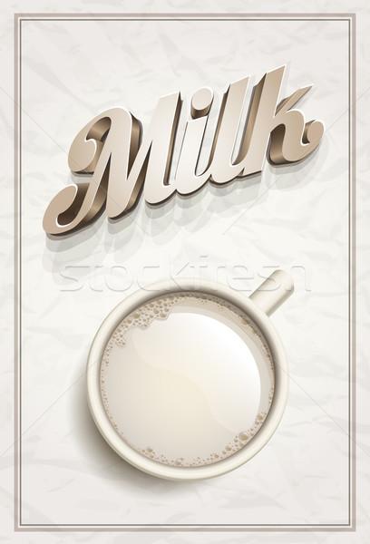 Photo stock: Tasse · lait · affiche · modèle · vecteur · réaliste