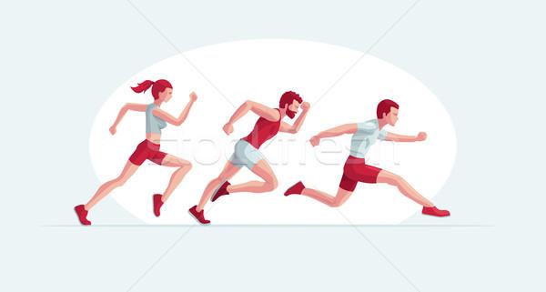 Corrida pessoas vetor ilustração dois homem Foto stock © sgursozlu