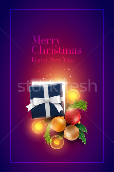 Christmas decoration objects and gift Box with magical lights Stock photo © sgursozlu