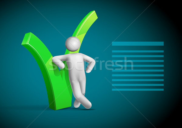 3d vector man leaning check symbol template. Stock photo © sgursozlu