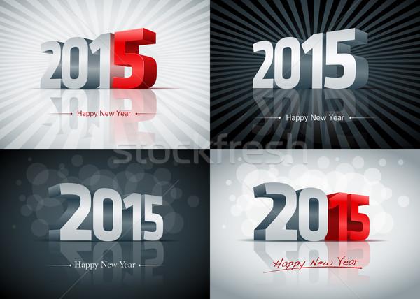 2015 с Новым годом набор карт Элементы Сток-фото © sgursozlu