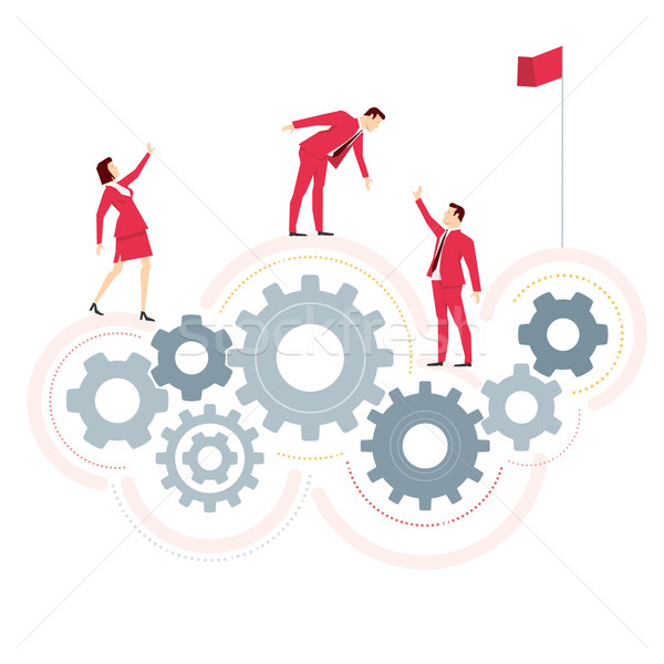 Stockfoto: Rood · pak · business · team · zakenlieden · business · abstract