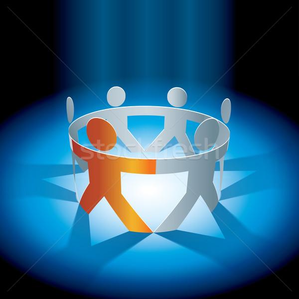 Pessoas cadeia vetor união ilustração símbolo Foto stock © sgursozlu