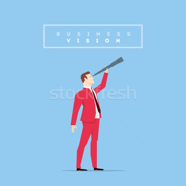 Stok fotoğraf: Kırmızı · takım · elbise · işadamı · poz · iş · finanse
