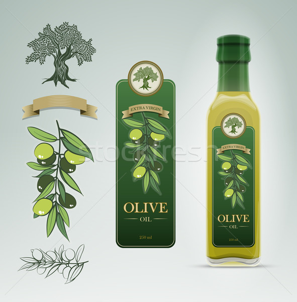 Olive Oil bottle and label design template. Stock photo © sgursozlu