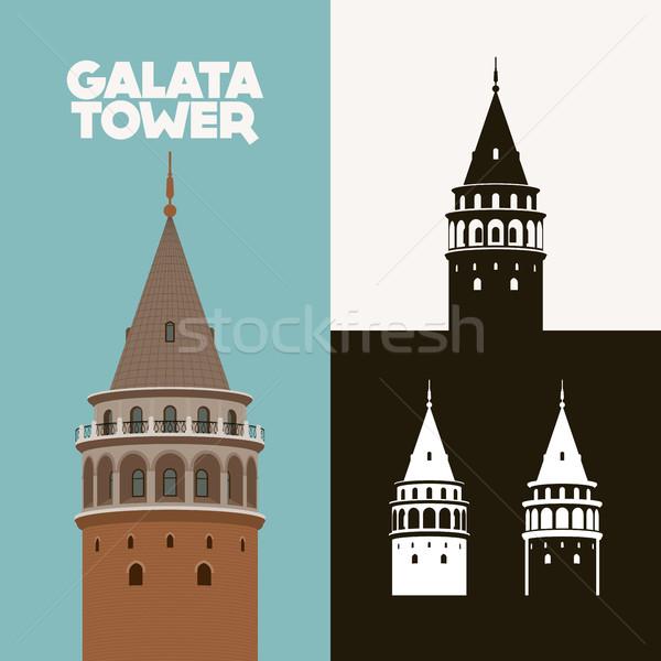 башни силуэта рисунок Стамбуле Турция фон Сток-фото © sgursozlu