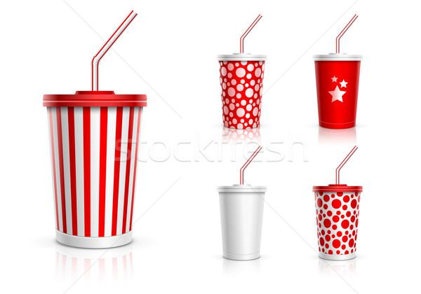 Eldobható csésze szett csészék italok szalmaszál Stock fotó © sgursozlu