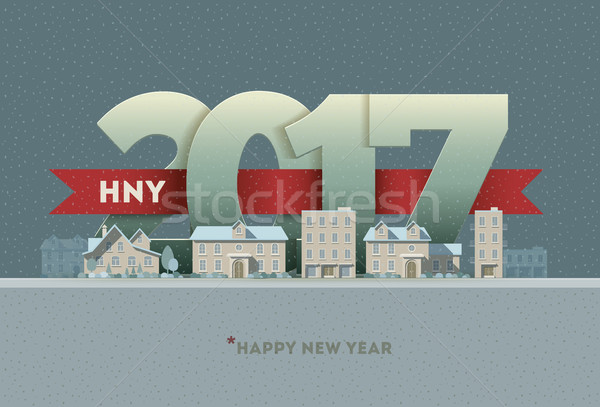 2017 Happy New Year in town Stock photo © sgursozlu