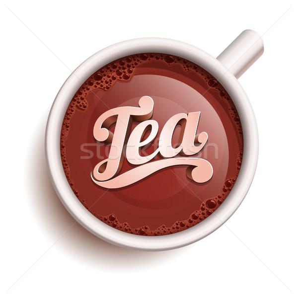 Csésze tea vektor valósághű szöveg összes Stock fotó © sgursozlu