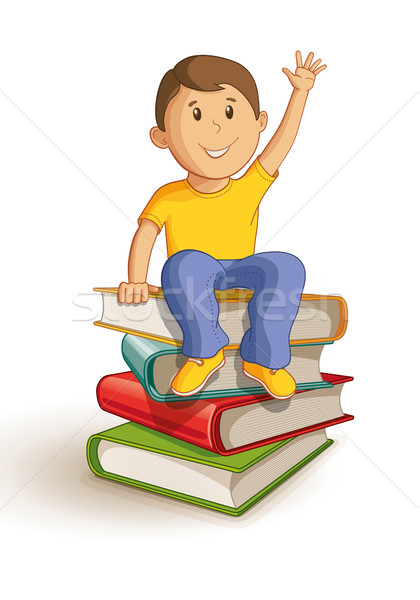 School boy sitting on the book stack. Stock photo © sgursozlu
