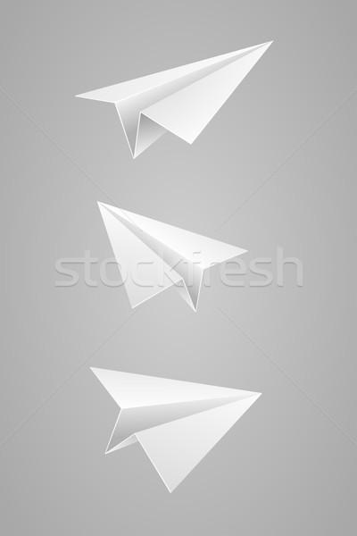 Avião de papel conjunto branco negócio papel luz Foto stock © sgursozlu
