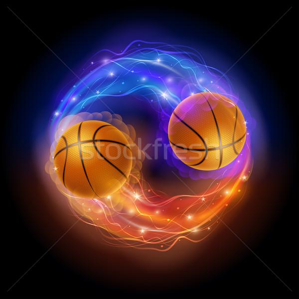 バスケットボール 彗星 ボール 炎 ライト 黒 ストックフォト © sgursozlu