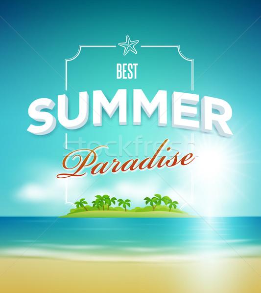 Nyár édenkert poszter design sablon vektor elemek Stock fotó © sgursozlu