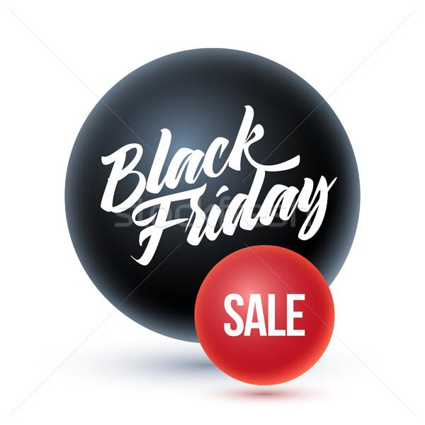 Black friday vásár fekete gömb piros absztrakt Stock fotó © sgursozlu