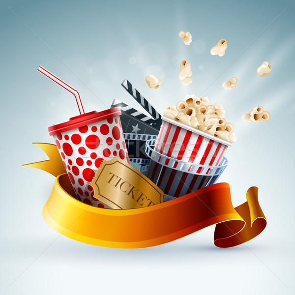 Сток-фото: кино · баннер · попкорн · окна · одноразовый · Кубок