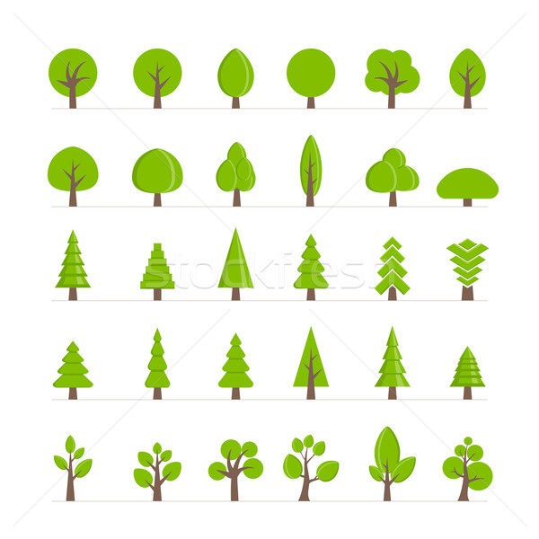 Vektor fa gyűjtemény különböző fák bokrok Stock fotó © sgursozlu