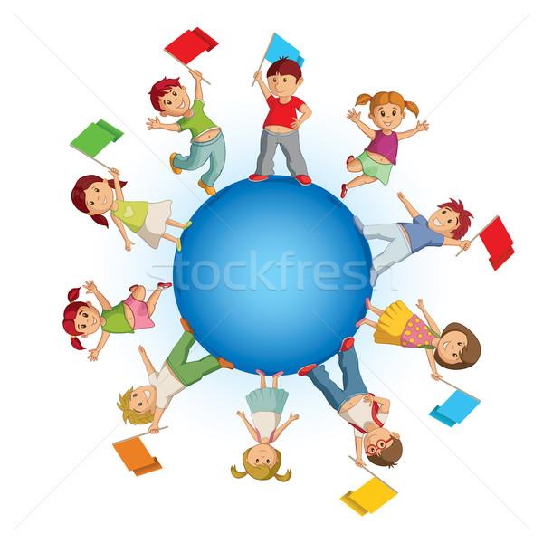 子供 青 球 カラフル フラグ 世界 ストックフォト © sgursozlu