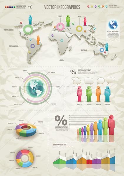 3D Vektor Weltkarte Illustration Infografiken Design-Vorlage Stock foto © sgursozlu