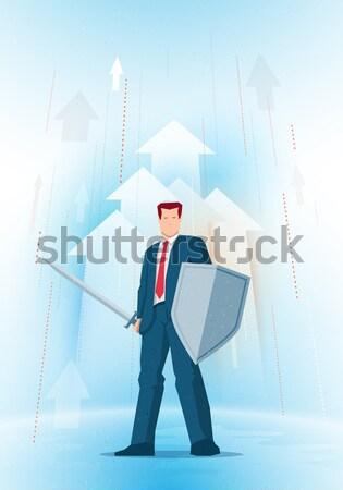 Negócio ilustração empresário espada escudo Foto stock © sgursozlu