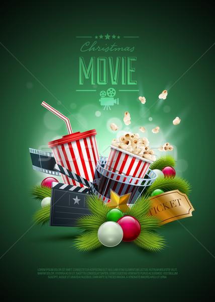 Natal filme pipoca caixa descartável Foto stock © sgursozlu