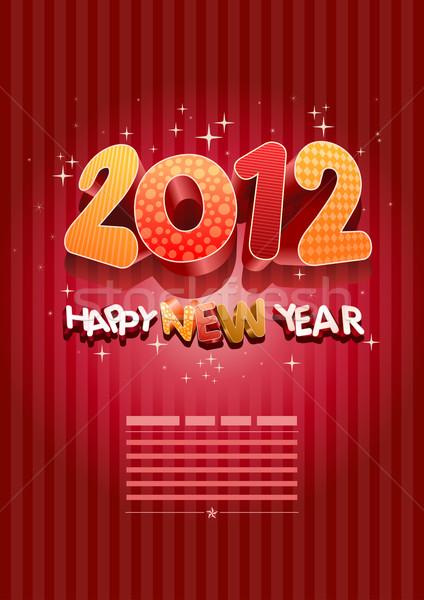 3D 2012 happy new year nouvelle année modèle de conception tous Photo stock © sgursozlu