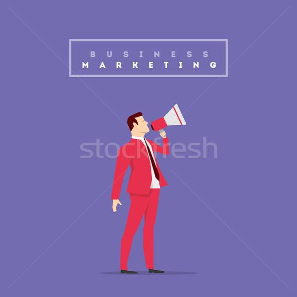 Vermelho terno empresário pose homem projeto Foto stock © sgursozlu