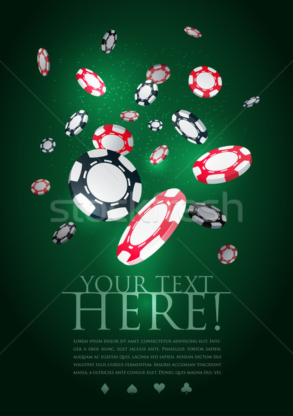 Poker gambling chips poster template. Stock photo © sgursozlu