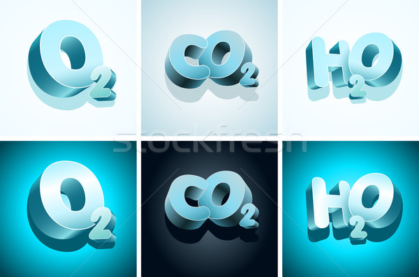 3D molecular símbolos oxigênio carbono água Foto stock © sgursozlu