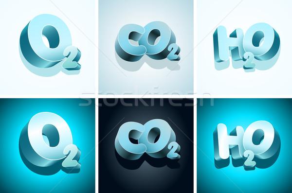 3D molekularen Symbole Sauerstoff Kohlenstoff Wasser Stock foto © sgursozlu
