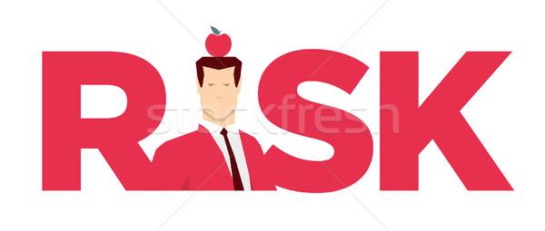 Stok fotoğraf: Kırmızı · takım · elbise · işadamı · risk · adam · elma
