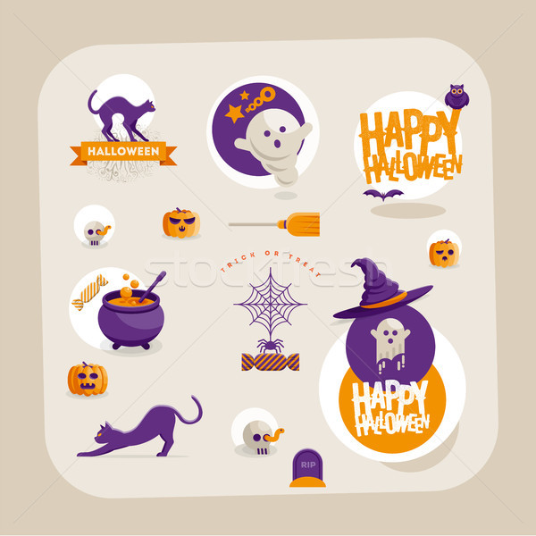 Vector Halloween symbol design set Stock photo © sgursozlu