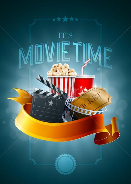Сток-фото: кино · плакат · попкорн · окна · одноразовый · Кубок
