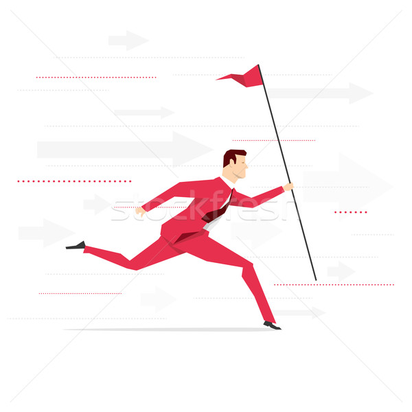 Stok fotoğraf: Kırmızı · takım · elbise · işadamı · çalışma · bayrak · iş