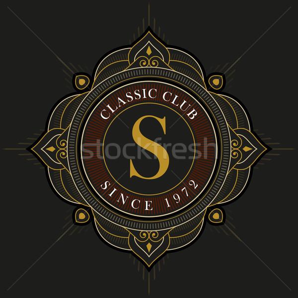Vetor luxo monograma modelo de design elegante quadro Foto stock © sgursozlu