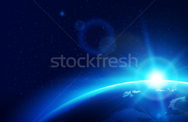 Planeten Erde Sonne blau Himmel Karte Licht Stock foto © sgursozlu