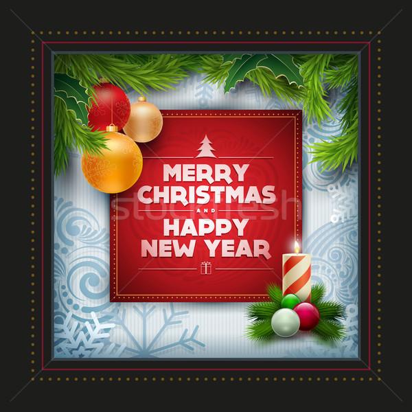 Weihnachten Grußkarte Design Vektor Neujahr Wünsche Stock foto © sgursozlu