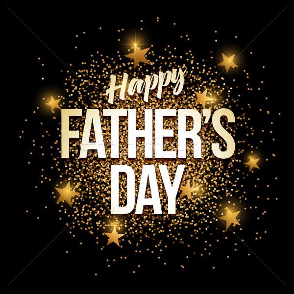 Boldog apák napját arany csillámlás szalag arany elemek Stock fotó © sgursozlu