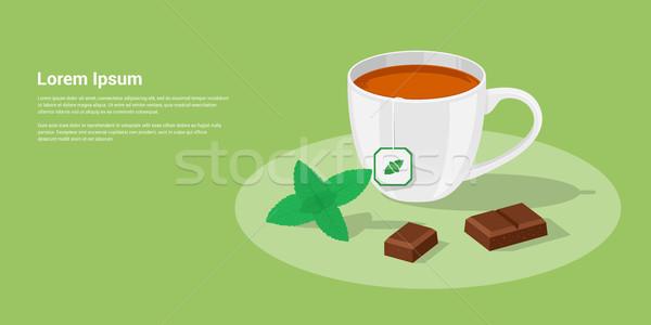 Tea csokoládé kép csésze darabok menta Stock fotó © shai_halud