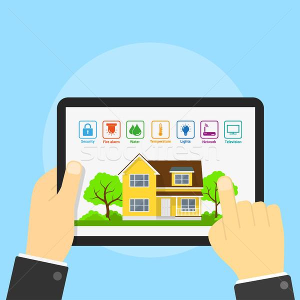 Smart home foto tablet huis iconen Stockfoto © shai_halud