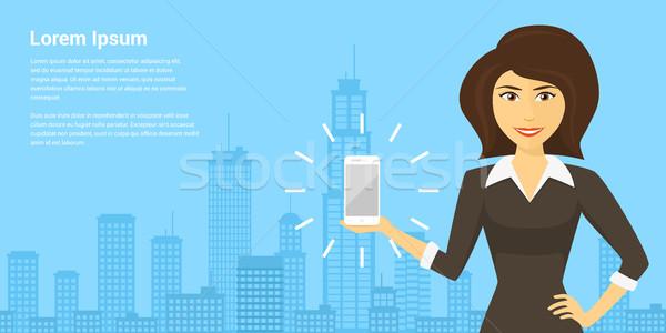 Foto stock: Teléfono · móvil · anuncio · Foto · mujer · sonriente