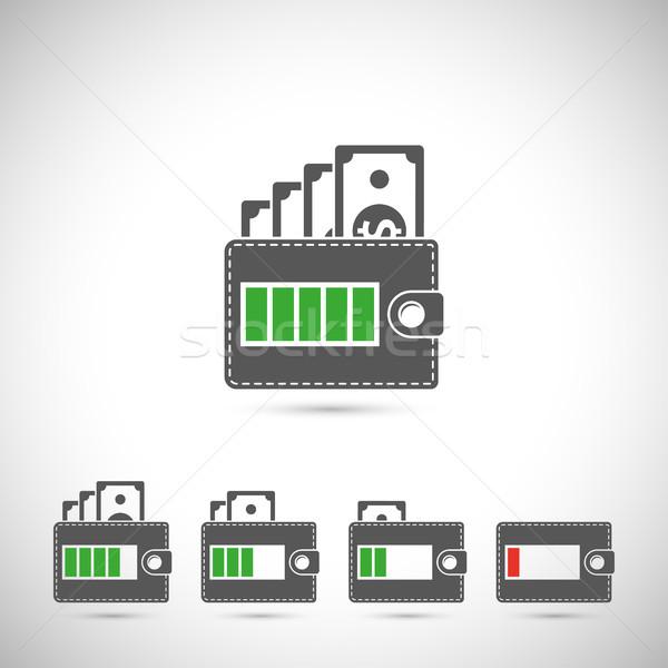 набор бумажник силуэта иконки батареи Сток-фото © shai_halud