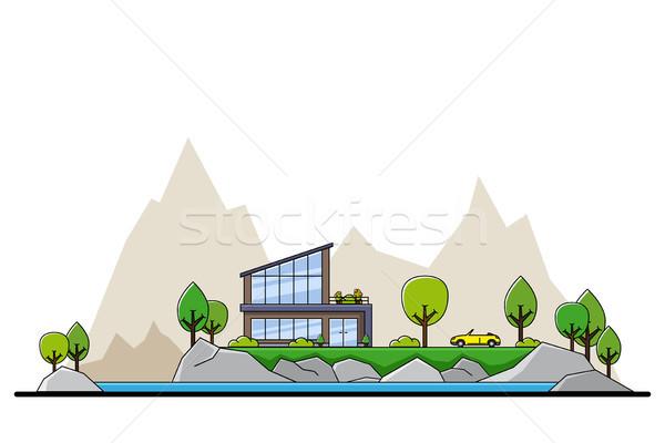 ストックフォト: 湖 · 家 · 画像 · 現代 · 住宅の · 木